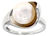 Pre-Owned Cultured Freshwater Pearl Rhodium Over Sterling Silver Ring 10-11mm