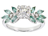 Pre-Owned Moissanite And .70ctw Zambian Emerald Platineve Ring 1.32ctw D.E.W
