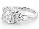 Pre-Owned Moissanite Fire® 3.66ctw DEW Cushion Cut And Round Platineve™ Ring