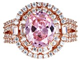 Pre-Owned Pink and White Cubic Zirconia 18k Rose Gold Over Sterling Silver Ring 6.24ctw