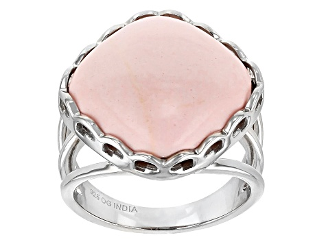 Pre-Owned Pink Opal Rhodium Over Sterling Silver Ring