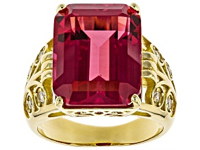 Pre-Owned Orange Lab Created Padparadscha Sapphire 18k Gold Over Silver Ring 13.38ctw