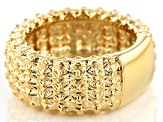 Pre-Owned 18k Yellow Gold Over Bronze Designer Lattice Ring