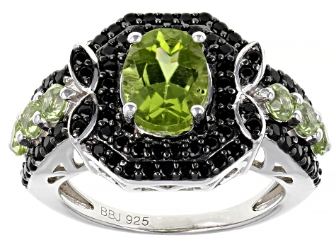 Pre-Owned Green Peridot Rhodium Over Sterling Silver Ring 3.40ctw