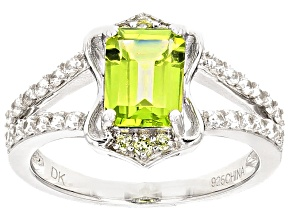 Pre-Owned Green Peridot Sterling Silver Ring 1.92ctw