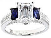 Pre-Owned Synthetic Blue Sapphire And White Cubic Zirconnia Ring 3.92ctw