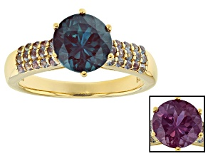 Pre-Owned Color change lab alexandrite 18k yellow gold over  silver ring 2.28ctw