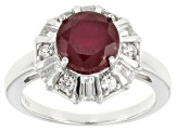 Pre-Owned Red Ruby Silver Ring 3.04ctw