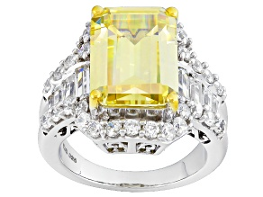 Pre-Owned Yellow And White Cubic Zirconia Silver Ring 15.08ctw (9.95ctw DEW)