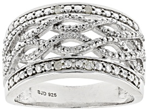 Pre-Owned White Diamond Rhodium Over Sterling Silver Ring Diamond Accent