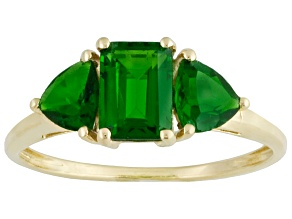 Pre-Owned 2.20ctw Emerald Cut, Trillion Green Chrome Diopside 10k Gold 3-Stone Style Ring