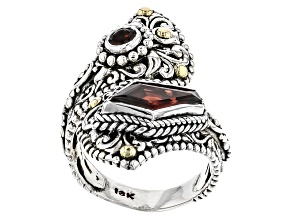 Pre-Owned Red Garnet Sterling Silver And 18kt Gold Accent Ring 2.04ctw