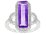 Pre-Owned blue color Change fluorite rhodium over silver ring 5.26ctw