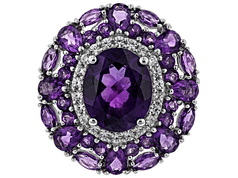 Pre-Owned Purple amethyst rhodium over silver ring 5.43ctw