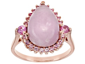 Pre-Owned Pink Kunzite 18k Rose Gold Over Silver Ring .15ctw
