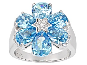 Pre-Owned Blue And White Cubic Zirconia Rhodium Over Sterling Silver Ring 7.95ctw