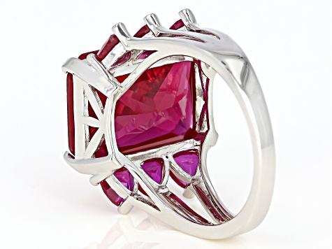 Pre-Owned Lab Created Red Ruby Rhodium Over Silver Ring 11.84ctw