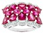 Pre-Owned Red Synthetic Ruby And White Cubic Zirconia Rhodium Over Sterling Silver Ring 7.50ctw