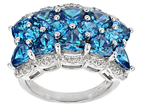 Pre-Owned Blue And White Cubic Zirconia Rhodium Over Sterling Silver Ring 9.45ctw