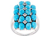 Pre-Owned Blue Turquoise Sterling Silver Ring .06ctw