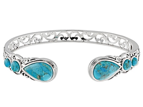 Pre-Owned Blue Turquoise Sterling Silver Cuff Bracelet