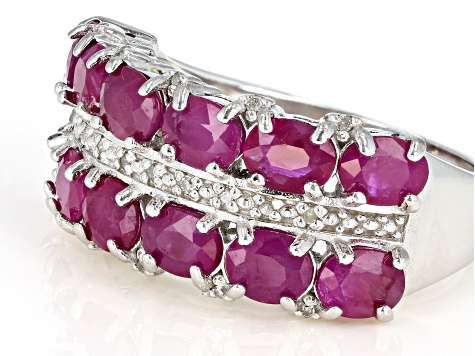 Pre-Owned Red Burmese Ruby Rhodium Over Sterling Silver Ring 2.60ctw
