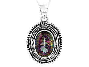 Pre-Owned Multi Color Quartz Rhodium Over Sterling Silver Pendant With Chain 10.50ct