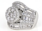 Pre-Owned White Cubic Zirconia Rhodium Over Sterling Silver Cluster Ring 6.65ctw