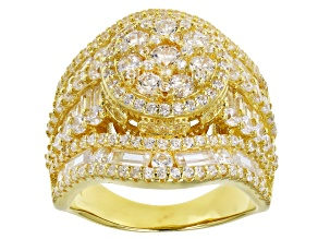 Pre-Owned White Cubic Zirconia 18k Yellow Gold Over Sterling Silver Cluster Ring 6.65ctw