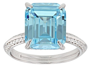 Pre-Owned Blue & White Cubic Zirconia Rhodium Over Sterling Silver Ring 11.16ctw