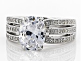 Pre-Owned White Cubic Zirconia Rhodium Over Sterling Silver Center Design Ring 5.10ctw