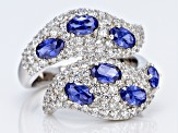 Pre-Owned Blue & White Cubic Zirconia Rhodium Over Sterling Silver Ring 4.85ctw