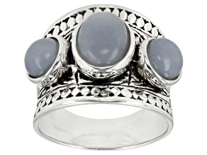 Pre-Owned Blue angelite rhodium over sterling silver ring