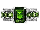 Pre-Owned Green Russian Chrome Diopside Rhodium Over Sterling Silver Ring 3.45ctw