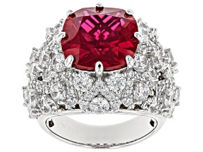 Pre-Owned Lab Created Ruby & White Cubic Zirconia Rhodium Over Silver Ring 15.24ctw