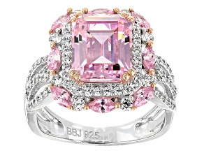 Pre-Owned Pink & White Cubic Zirconia Rhodium Over Sterling Silver Center Design Ring 9.34ctw