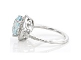 Pre-Owned Blue Aquamarine Rhodium Over Sterling Silver Halo Ring 3.64ctw