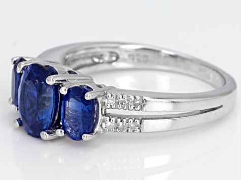 Pre-Owned Blue Kyanite Rhodium Over Sterling Silver Ring 2.33ctw