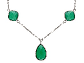 Pre-Owned Green Onyx Sterling Silver Statement Necklace