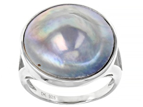 Pre-Owned 17mm Gray Cultured Mabe Pearl Rhodium Over Sterling Silver Ring