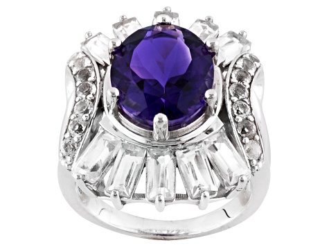 Pre-Owned Purple Uruguayan Amethyst Sterling Silver Ring 6.38ctw.