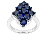 Pre-Owned Blue Cubic Zirconia Silver Ring 3.98ctw