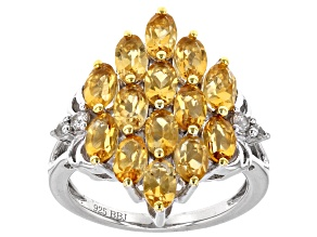 Pre-Owned Yellow Citrine Sterling Silver Ring 3.23ctw