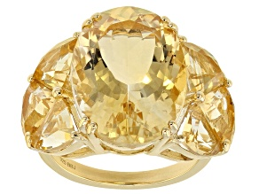 Pre-Owned Yellow citrine 18k gold over silver ring 13.08ctw