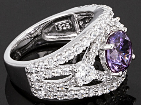 Pre-Owned Synthetic Sapphire And White Cubic Zirconia Silver Ring 5.17ctw