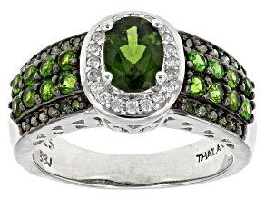 Pre-Owned Green Russian Chrome Diopside Sterling Silver Ring 1.48ctw