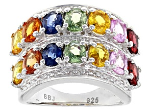 Pre-Owned Multi Colors of Sapphire Sterling Silver Ring 6.30ctw