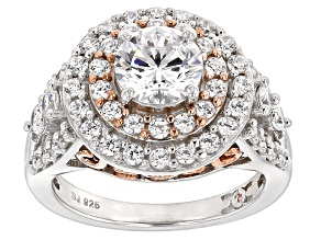 Pre-Owned Cubic Zirconia Silver And 18k Rose Gold Over Silver Ring 4.74ctw (2.52ctw DEW)