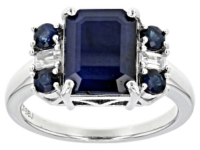 Pre-Owned Blue Sapphire Sterling Silver Ring 3.91ctw.