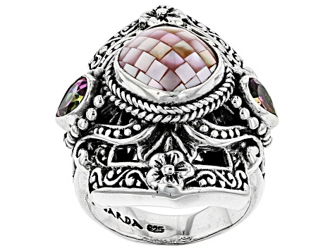 Pre-Owned Pink Mosaic Mother of Pearl Silver Ring 0.86ctw